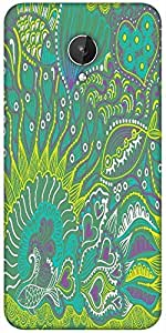 Snoogg Abstract Seamless Texture With Fish Designer Protective Back Case Cover For Micromax Canvas Spark Q380
