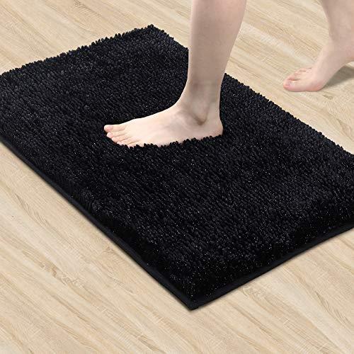 Lewondr Chenille Badematte, Weich rutschfest Badteppich Fußmatte, Hochflor Badvorleger für Badezimmer Küche 50x80cm, Schwarz