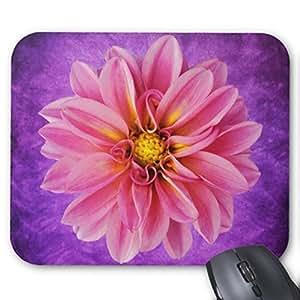 Dalia, fiore, colore: rosa su sfondo viola, Watercolor-Tappetino per Mouse, elegante, durevole e accessori come regalo in ufficio