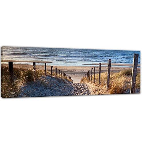 Kunstdruck - Schöner Weg zum Strand III - Bild auf Leinwand - 120x40 cm einteilig - Leinwandbilder - Bilder als Leinwanddruck - Wandbild von Bilderdepot24 (Bild Weg)