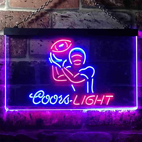 Red Beach Chair (zusme Corona Extra Palm Tree Beach Chair Novelty LED Neon Sign Red + Blue W40cm x H30cm)