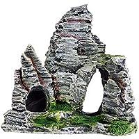 housesweet - Adorno para Acuario, decoración de montaña, Acuario, Paisaje, Roca, Cueva escondida, árbol, decoración para Acuario