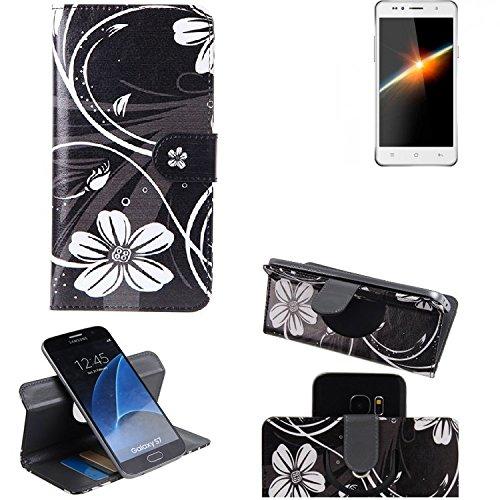 K-S-Trade® Schutzhülle Für Siswoo C50 Longbow Hülle 360° Wallet Case Schutz Hülle ''Flowers'' Smartphone Flip Cover Flipstyle Tasche Handyhülle Schwarz-weiß 1x