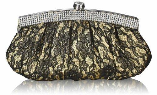 TrendStar Meine Damen Elegante Abend Party Geldbeutel Blütenspitze Kristall Handtaschen Gold