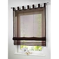 1 Stueck Raffrollo Schlaufen Gardinen Fenster Vorhang Schal,B 120cm * H  155cm Braun
