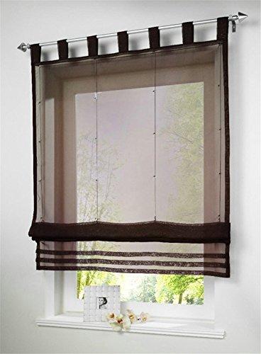 1 Stueck Raffrollo Schlaufen Gardinen Fenster-Vorhang Schal,B 140cm * H 155cm Braun