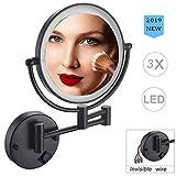 Allyine 8 inch Wandmontage LED KosmetikSpiegel 3 Fach Vergrößerung, Beleuchteter Badzimmer Schminkspiegel, Rasieren Spiegel, Stromversorgung über Kabel, wiederaufladbarer(Schwarz),DierectWire