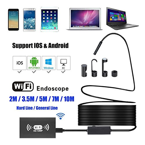 Samsung Usb Wifi-adapter (Endoskopkamera Wifi Wireless Borescope Inspektionskamera IP 68 Wasserdichte Schlange Kamera mit 8 verstellbare LED 7M Kabel 1200P HD Bild für Android & IOS Smartphone, iPhone, Samsung)