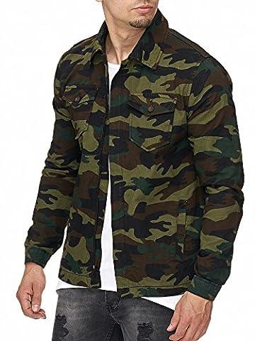 MADDU Herren Army Camouflage Jacke Sommer Clubwear Jacket Hemd 2017 NEU (L)