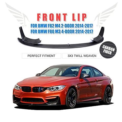Jcsportline 3pcs/lot en fibre de carbone pare-chocs avant menton à lèvres répartiteur pour BMW F82M4F80M32014–17