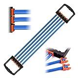 JEEZAO Brust Expander Fitness 5-Fach AbnehmbarLatex Widerstandsbänder für Arm Muskeltrainer das Fitnessstudio 5x15lbs (Blau)