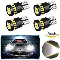 Paquete 4 T10 W5W 21 x 4014 bombillas LED para el coche, WILWOLF luces LED interiores del coche con canbus luz de estacionamiento luz lateral de reserva, lámparas interiores de repuesto (blanco)