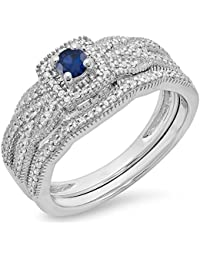 067fcbf7c0cc 10 K oro redondo azul zafiro y blanco Diamond Bridal De Halo Anillo De  Compromiso Conjunto