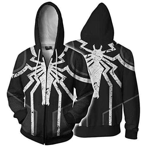 YKJL Unisex Hoodie Lässige Large Size Langarm Sportswear 3D Anime Hoodie Spider-Man Gift Mantel Kostüm Halloween Cosplay Sweatshirt,Schwarz,XXL