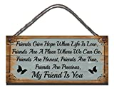Shabby Chic Birthday Occasion Wooden Funny Sign Wall Plaque Friends Give Hope When Life Is Low, Friends Are A Place Where We Can Go, Friends Are Honest, Friends Are True, Friends Are Precious, My Friend Is You Gift Present