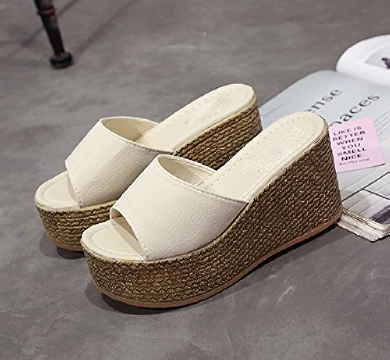 AJUNR Sandali Sandali Sandali da Donna alla Moda Pantofole Scarpe 9cm Piattaforma con Pendenza Impermeabile Riso Bianco,trentanove | Il Più Economico  5a5873