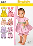 Simplicity Sewing Pattern 3854 A Babies Dresses