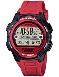 Casio CASIO Collection - Reloj digital de caballero de cuarzo con correa de resina roja (cronómetro, alarma, luz) - sumergible a 100 metros