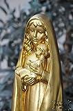 12 - 13 cm,Gold-farben bronziert, Heilige Maria MADONNA Mutter Gottes mit Kind, Madonna als Symbol von Unschuld und unbefleckter Empfängnis - alle ÖLBAUM HEILIGEN- und Krippenfiguren zeichnen sich durch extrem sauber gearbeitete und präzise Gesichtszüge der Figuren aus, coloriertes Holzfiguren- bzw. Echtholzimitat, schlanke Form, standfeste und liebevoll Gottesmutter