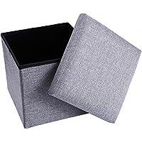 ZEEPIN Reposapiés Plegable Cubo de Almacenamiento de Caja con Tapa extraíble, Taburete Plegable de poliéster, 38 x 38 x 40 cm (Gris)