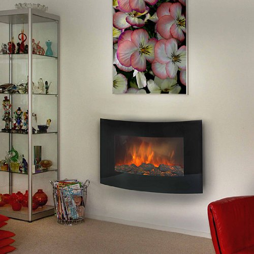 Euromac Valencia wall-mountable Fireplace Electric Black – Fireplaces (883 mm, 145 mm, 560 mm, 17.7 kg)