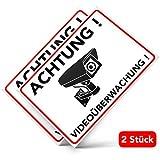 Achtung Videoüberwachung Aufkleber – Schild – Folie – Sticker ( Kameraüberwachung – Überwachungskamera – Alarmanlage – Alarmgesichert – Hinweisschild – Warnschild – Warnhinweis) für Türen, Fenster, Tore, etc. in weiss - Witterungsbeständig – 2 Stk. ( 14,80 cm x 10,50 cm )