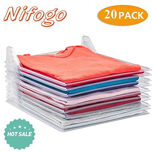 Nifogo Organiseur de Vêtements Placards - Chemise Fichier Rangements - Taille Standard (20 Pieces)