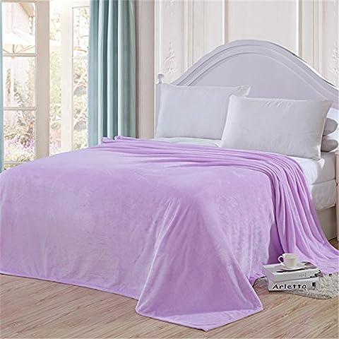 hhyws Couvre-lit doux et chaud Canapé Couverture Pure Color épais, en flanelle violet clair 180* * * * * * * * 200cm