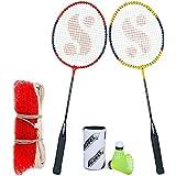 Silver's SB-100 Combo-6 (2 B/Rackets + 2 Pcs Plastic Shuttle + 1pc. Badminton Net Nylon) Red-Yellow