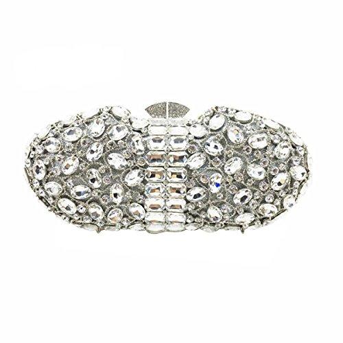 Lady Sacchetto Del Pranzo Cristallo Di Diamante Diamante Portafoglio Pacchetto Borsa Banchetto Borsa Da Sposa Silver