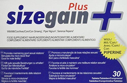 SizeGain Plus, Pastillas para alargar el pene, 30 comprimidos