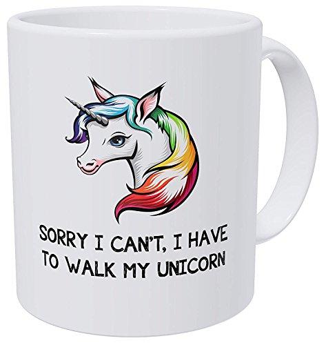 n't I Have To Walk My Unicorn Funny Coffee Mug Tea Cups Personalized Add Your Customized Logo Text Photo 11 Oz White Ceramic Mugs Gag Gift ()