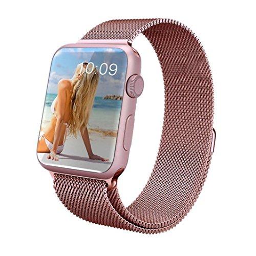 For Apple Watch 38mm , Transer® Moda Milanese bucle magnético banda de reloj de acero inoxidable Correa Reloj 38mm para Apple (Oro rosa)