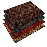 etm Design Schmutzfangmatte | mit Schnörkelmuster | für Eingangsbereich | Fußmatte in vielen Größen und Farben | braun 90x150 cm