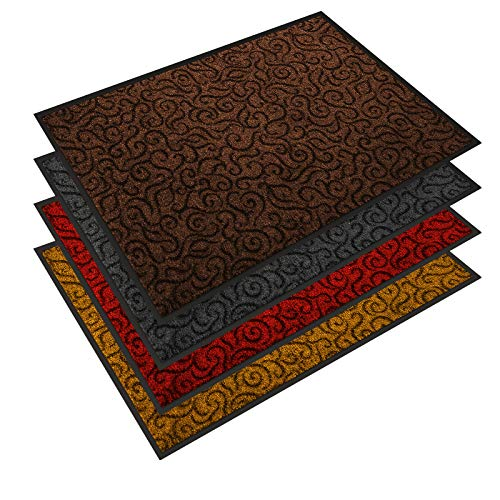 etm Design Schmutzfangmatte | mit Schnörkelmuster | für Eingangsbereich | Fußmatte in vielen Größen und Farben | braun 60x90 cm