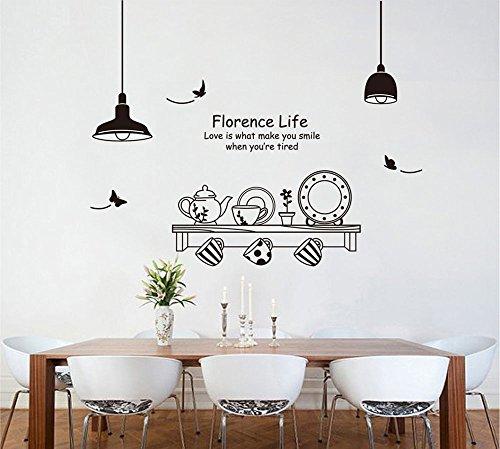 ufengke Personalizzato Tazza Stoviglie Pentola e Piattino Adesivi Murali, Sala da Pranzo Cucina Adesivi da Parete Removibili/Stickers Murali/Decorazione Murale