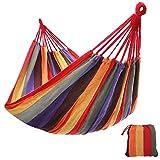 SONGMICS Hamaca Colgante Tejido Polialgodón Relajar en Jardín Camping 210 x 150 cm Carga de 300 kg Colorido GDC210