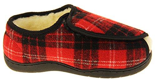 Footwear Studio Herren Einstellbare Klettverschluss Orthopädische Pantoffeln Rot Tartan (Offene Zehenhefterzufuhren)