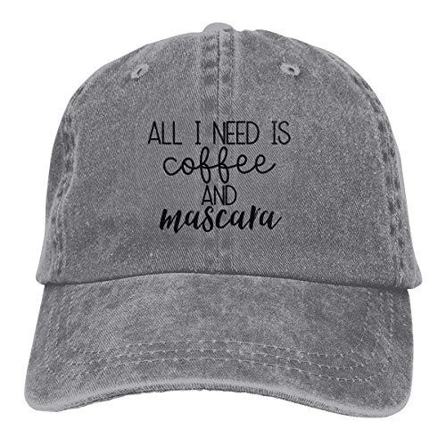 Hoswee Unisex Kappe/Baseballkappe, All I Need is Coffee and Mascara Cowboy Cap Dad Baseball Hats