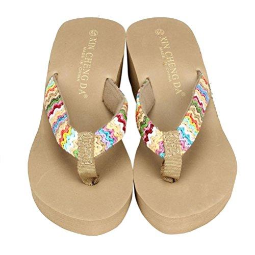 Sandalias y Chancletas de Plataforma para Mujer, QinMM Playa Zapatos de Verano Flip Flops (38, Caqui)
