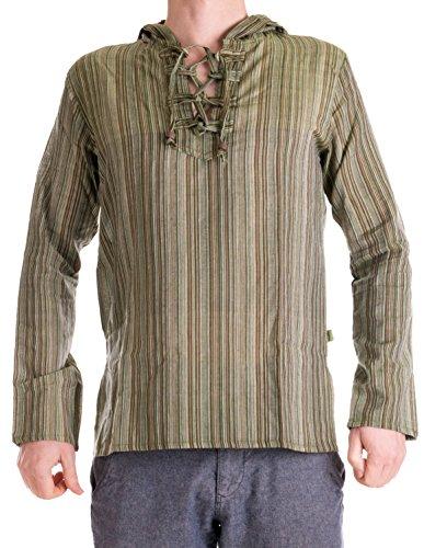 Bekleidung - gestreiftes Fischerhemd zum Schnüren, aus handgewebter Baumwolle, mit Kapuze Olive XL ()