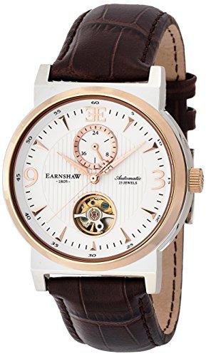 Thomas Earnshaw ES-8012-04 - Reloj para hombre con esfera analógica de color blanco y correa de cuero marrón