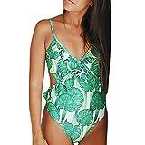 MRULIC Damen Drücken Push-Up Pad Rüschen Einteilige Badebekleidung Badeanzug Bikini Jumpsuit Beachwear Strap-Overall(Grün,S)