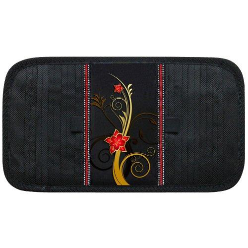 AutoStyle - Custodia porta CD, motivo: farfalla e fiore, colore: Nero