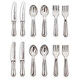 Odoria 1/12 Miniatur Geschirr 12 Stück Silber Besteck-Set Für Puppenhaus Küchen
