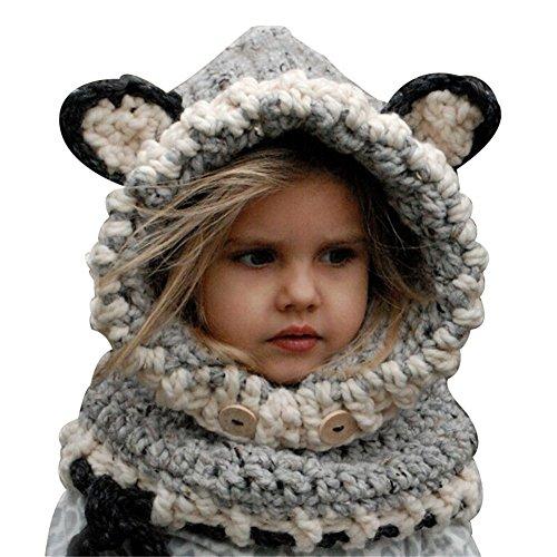 Preisvergleich Produktbild Richoose Winter-warme Coif Haube Schal-Kappen-Hut Earflap Fox gestrickte Wolleschal-Kappen-Hüte für Baby-Kinder Mädchen-Jungen, Grau