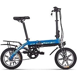 """Eléctrico bicicleta Richbit plegable bicicleta de ciudad con 250 W * 36 V * 10.2Ah larga duración 14 """"rueda nueva actualización, mujer hombre, azul"""