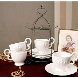 ROMANTISCHES TEE KAFFEE SET PORZELLAN KRONE SHABBY CHIC