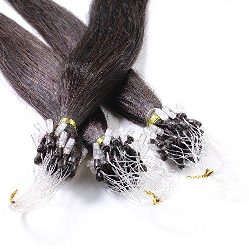 Just Beautiful Hair 200 Micro Loop Extensions con Anelli, Capelli Veri Remy Indiani 50cm - #1b nero naturale, 1x200 ciocche