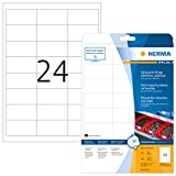 Herma 4573 Wetterfeste Folienetiketten ablösbar (66 x 33,8 mm) weiß, 480 Aufkleber, 20 Blatt A4 Klebefolie matt, bedruckbar, selbstklebend